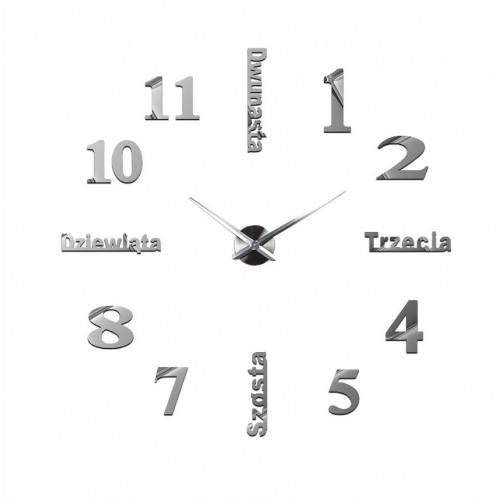 Nowoczesny Zegar Ścienny 65-120 cm Wzór Polski Srebrny