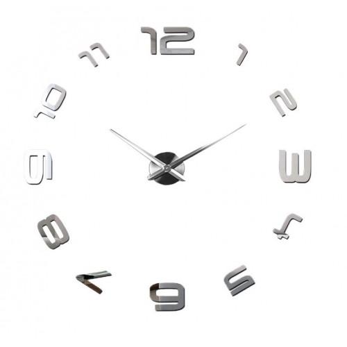 Nowoczesny Zegar Ścienny 65-120 cm Wzór Okrężny Srebrny
