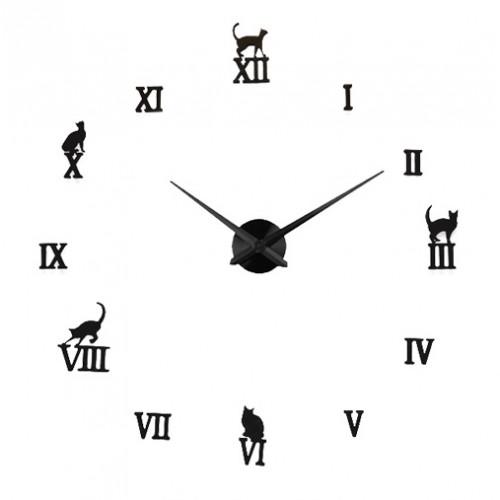Nowoczesny Zegar Ścienny 65-120 cm Wzór Koty Czarne