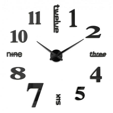 Zegar DIY Napisy Angielskie Czarne