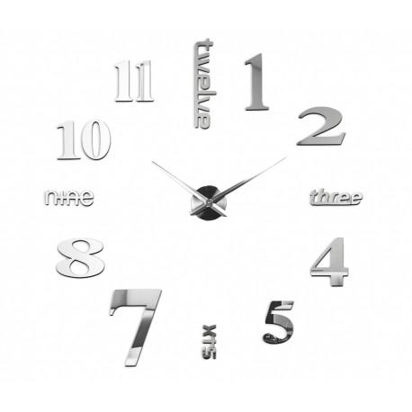 Nowoczesny Zegar Ścienny 65-120 cm Wzór Angielski Srebrny