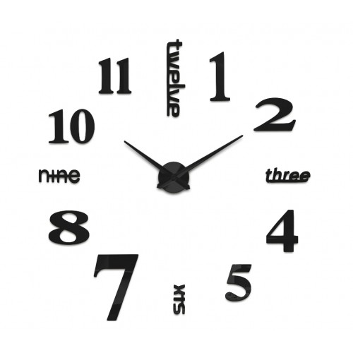 Nowoczesny Zegar Ścienny 70-130 cm Wzór Angielski Czarny