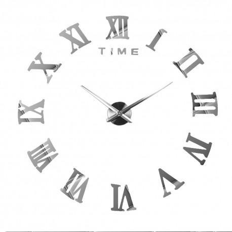 Nowoczesny Zegar Ścienny 65-120 cm Wzór Rzymski Srebrny