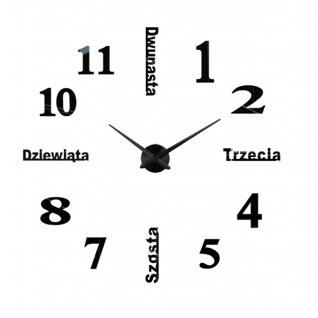 Nowoczesny Zegar Ścienny 65-120 cm Wzór Polski Czarny