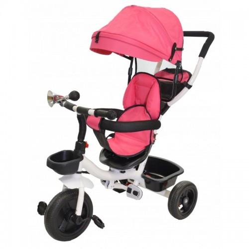 Rowerek trójkołowy 6w1 sacerówka obrotowy, kolor różowy