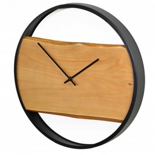 Zegar ścienny metalowy 40 cm naturalna deska + stal