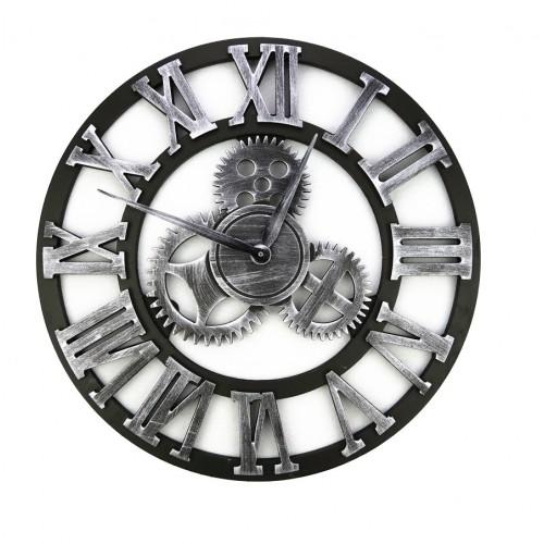 Zegar Ścienny 50 CM Styl Retro Srebrny