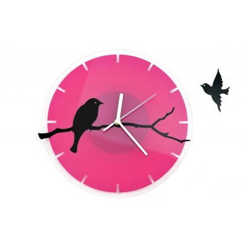 """Różowy Zegar Ścienny """"Ptak Na Gałęzi """""""