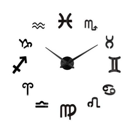 Nowoczesny Zegar Ścienny 65-120 cm Wzór Zodiak Czarny