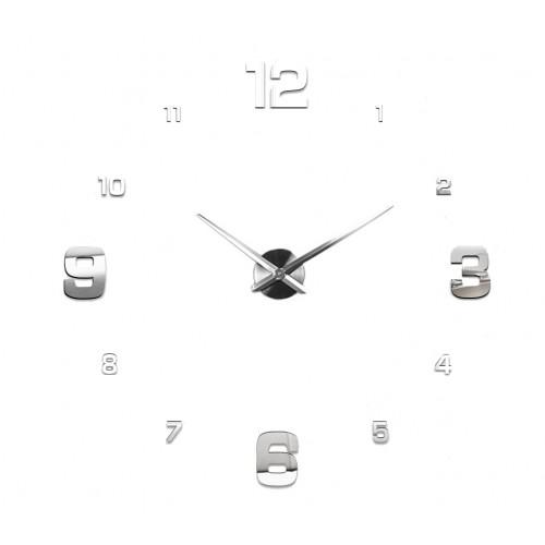 Nowoczesny Zegar Ścienny 65-120 cm Wzór Cyfry Srebrne